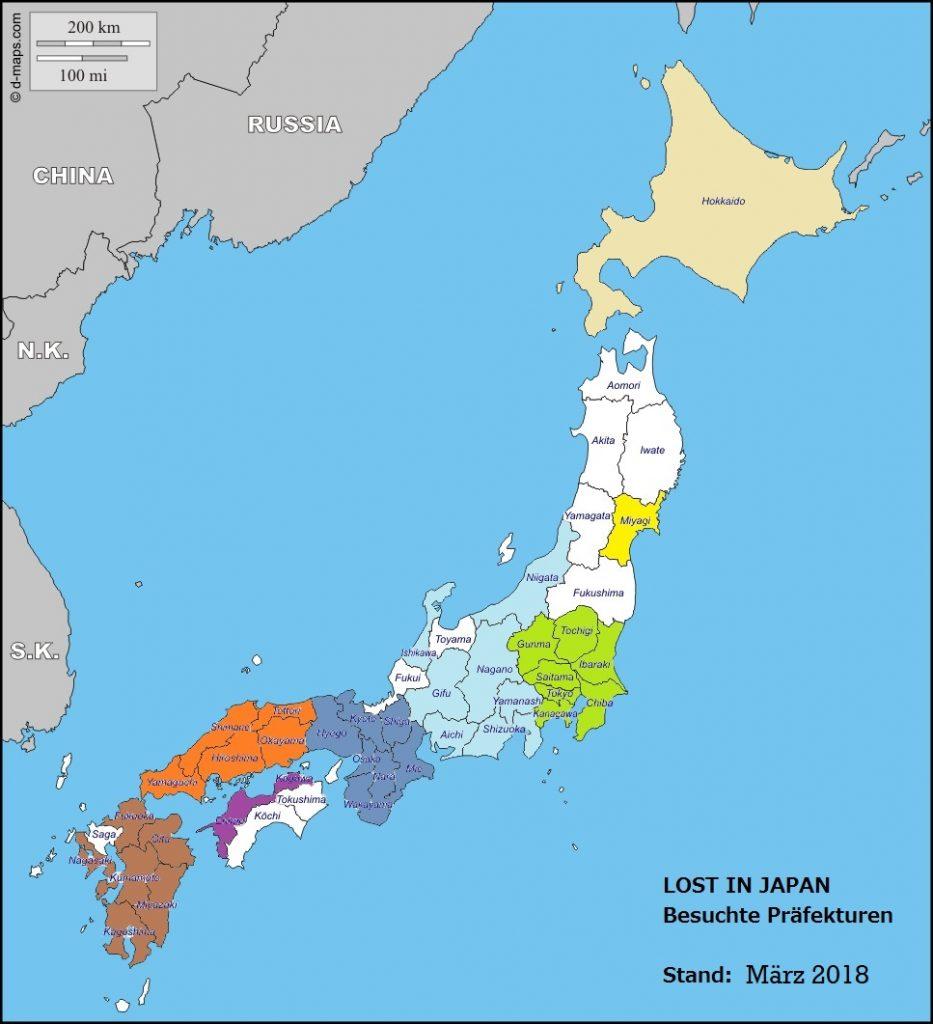 Besuchte Präfekturen